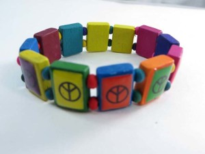peace sign wooden stretchy bracelets wristband