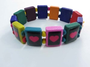 heart love wooden stretchy bracelets wristband