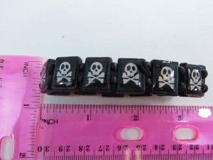 pirate skull wooden stretchy bracelets wristband
