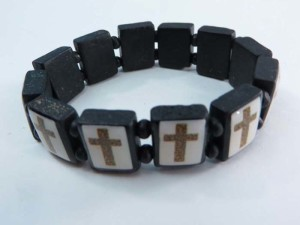 Cross wooden stretchy bracelets wristband