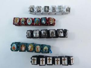 American flag, skull, butterfly, Jesus Saints Rosary Cross wooden stretchy bracelets wristband