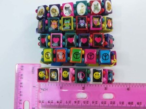 peace sign, happy face, heart, owl, cats dogs pets, American flag, skull, butterfly, Jesus Saints Rosary Cross wooden stretchy bracelets wristband