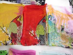peacock peony flower chiffon scarf shawl wrap