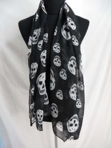 Sugar skull, skull Day of the Dead, skull and cross, punk rock psychobilly rockabilly chiffon scarves.