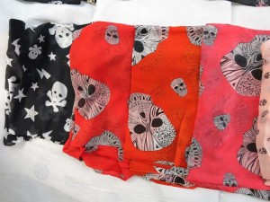 Sugar skull, skull Day of the Dead, skull and cross, punk rock psychobilly rockabilly chiffon scarves