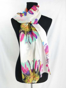 floral chiffon scarves scarf shawl wrap. Fashion scarf for all seasons.