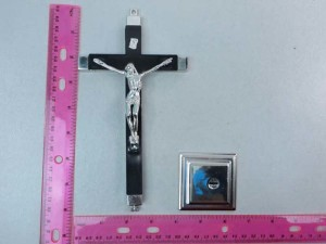 Jesus Christ on cross crucifix stand in black colors