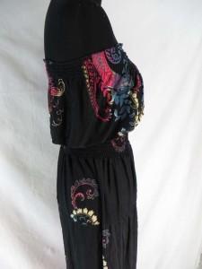 strapless paisley black pink boho long dress / maxi dress / boho beach dress / maxi sundress / vacation dress / halter dress