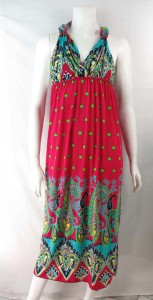 mixed designs boho long dress