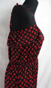 Women's fashion poker dots high-low dresses / asymmetrical dresses. Made of comfortable fabric 95% polyester, 5% spandex. High quality, trendy design, made in China.
