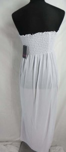 Strapless tube top solid plain white maxi dress.