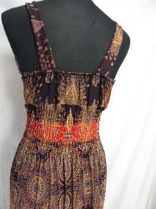 Paisley floral bohemian long dress / maxi dress / boho beach dress / maxi sundress / vacation dress / halter dress. There is metal buckle decorations on both shoulders.