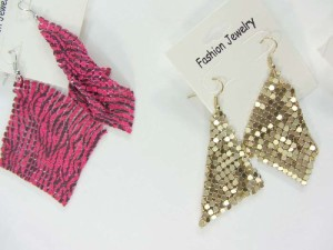 soft metal chip cloth fashion dangle earrings
