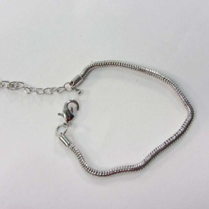 Silver plated snake chain bracelet for European charms beads