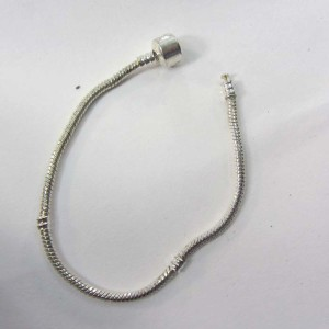 Silver plated clam clasp snake chain bracelet for European charms beads
