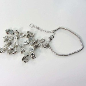 20 Silver plated charm beads and 1 snake chain bracelet set