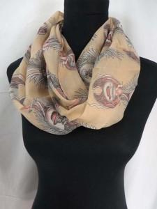 skulll skeleton chiffon infinity scarf circle loop long wrap endless shawl
