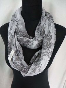 peony florals infinity scarf circle loop long wrap endless shawl cowl neck circular scarf