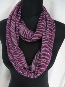 animal print stripes infinity scarf with sparkling sequins dots