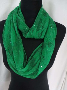 boho florals infinity scarf with sparkling sequins dots circle loop long wrap endless shawl
