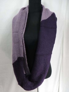 two tone double loop knit infinity scarf, circle loop long shawl wrap