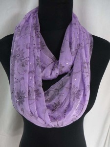 vintage bohemian florals infinity scarf with sparkling sequins dots circle loop long wrap