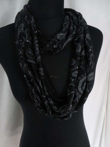 retro bohemian paisley infinity scarf with sparkling sequins dots circle loop long wrap