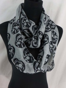 skeleton skull head infinity scarf circle loop long wrap endless shawl cowl neck circular scarf