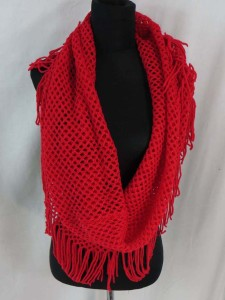 Solid colors 2-loop knit infinity scarf, circle loop long shawl wrap cowl neck scarf