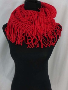 Solid colors 2-loop knit infinity scarf, circle loop long shawl wrap cowl neck scarf