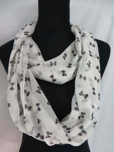 black and white mixed designs infinity scarf circle loop long wrap endless shawl