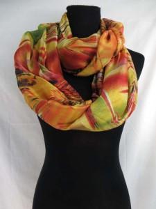 colorful abstract print infinity scarf / circle loop long wrap / endless shawl / cowl neck circular scarf / eternity scarf / double loop scarf