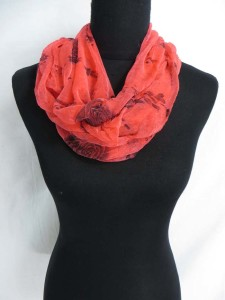 rose print infinity scarf / circle loop long wrap / endless shawl / cowl neck circular scarf / eternity scarf / double loop scarf