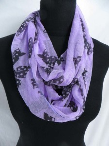 butterfly infinity scarf / circle loop long wrap / endless shawl / cowl neck circular scarf / eternity scarf / double loop scarf