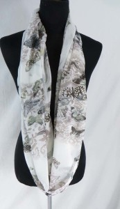 cute and beautiful butterfly chiffon infinity scarf / circle loop long wrap / endless shawl / cowl neck circular scarf / eternity scarf / double loop scarf