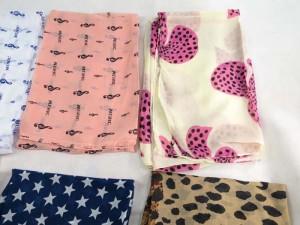 mixed designs chiffon infinity scarf / circle loop long wrap / endless shawl / cowl neck circular scarf / eternity scarf / double loop scarf