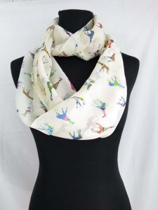 giraffe chiffon infinity scarf / circle loop long wrap / endless shawl / cowl neck circular scarf / eternity scarf / double loop scarf