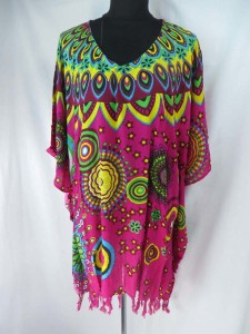 Womens poolside kaftan top shirt in urban fashion theme Made of 100% rayon, handmade in Bali Indonesia Some with tasseled hem, some don't. One size fits for all (Fits size S, M, L, X., 1X, 2X, 3X) assorted designs ramdomly picked by warehouse staff