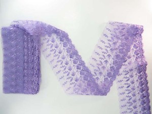 purple 5 inches wide flower lace trim with sequins
