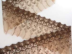 brown 5 inches wide flower lace trim with sequins