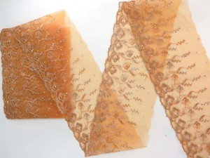light orange 5 inches wide flower lace trim with sequins