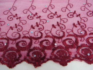 cherry red 4.25 inches wide flower lace trim with sequins