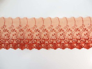 orange red 4.5 inches wide flower lace trim with sequins