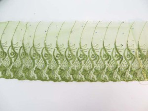 green 5 inches wide flower lace trim with sequins