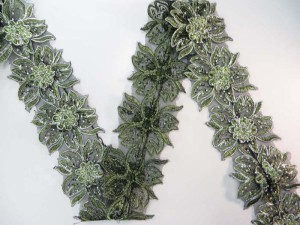 green 3 inches wide large flower sequins netting lace trim