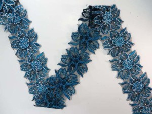 blue 3 inches wide large flower sequins netting lace trim