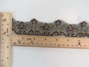 coffee brown 1.5 inches wide venice flower gold metallic netting lace trim