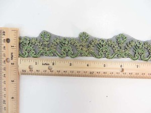 green 1.5 inches wide venice flower gold metallic netting lace trim