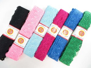 assorted colors 1.5 inches wide scallop venice flower lace trim