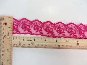 10 yards fuchsia 1.5 inches wide scallop venice flower lace trim